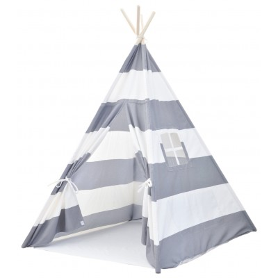 Canvas Teepee Tent for Kids Gray and White Stripes KSFUKRQ